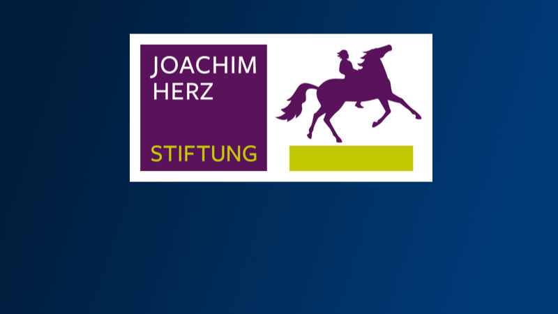Logo of the Joachim Herz Stiftung showing a person riding on a horse